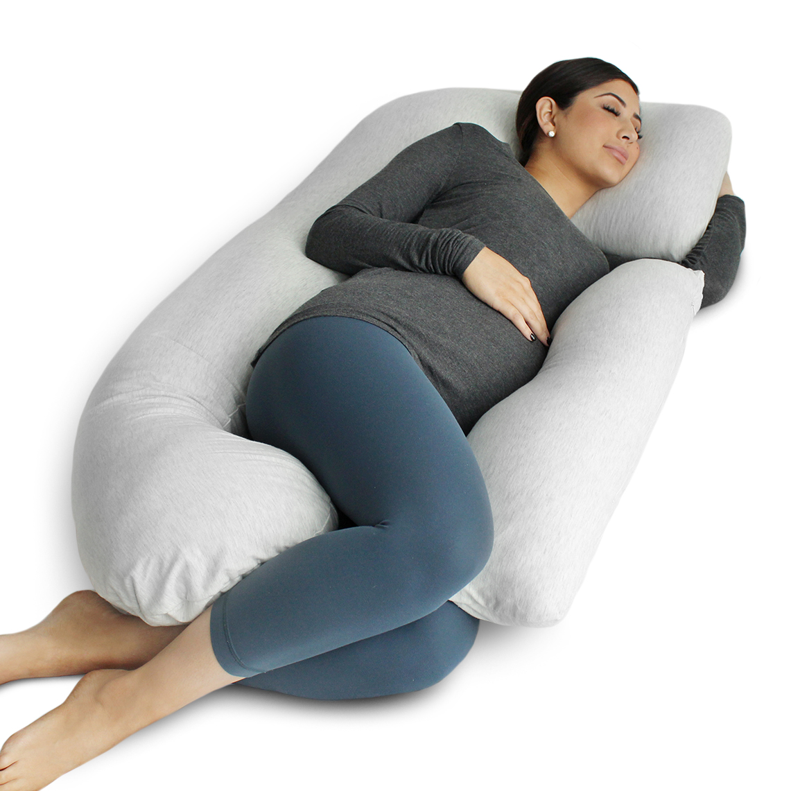 pregnancy pillow full body maternity pillow with contoured u shape by bluestone back support lavish home white 60 x 38 x 7