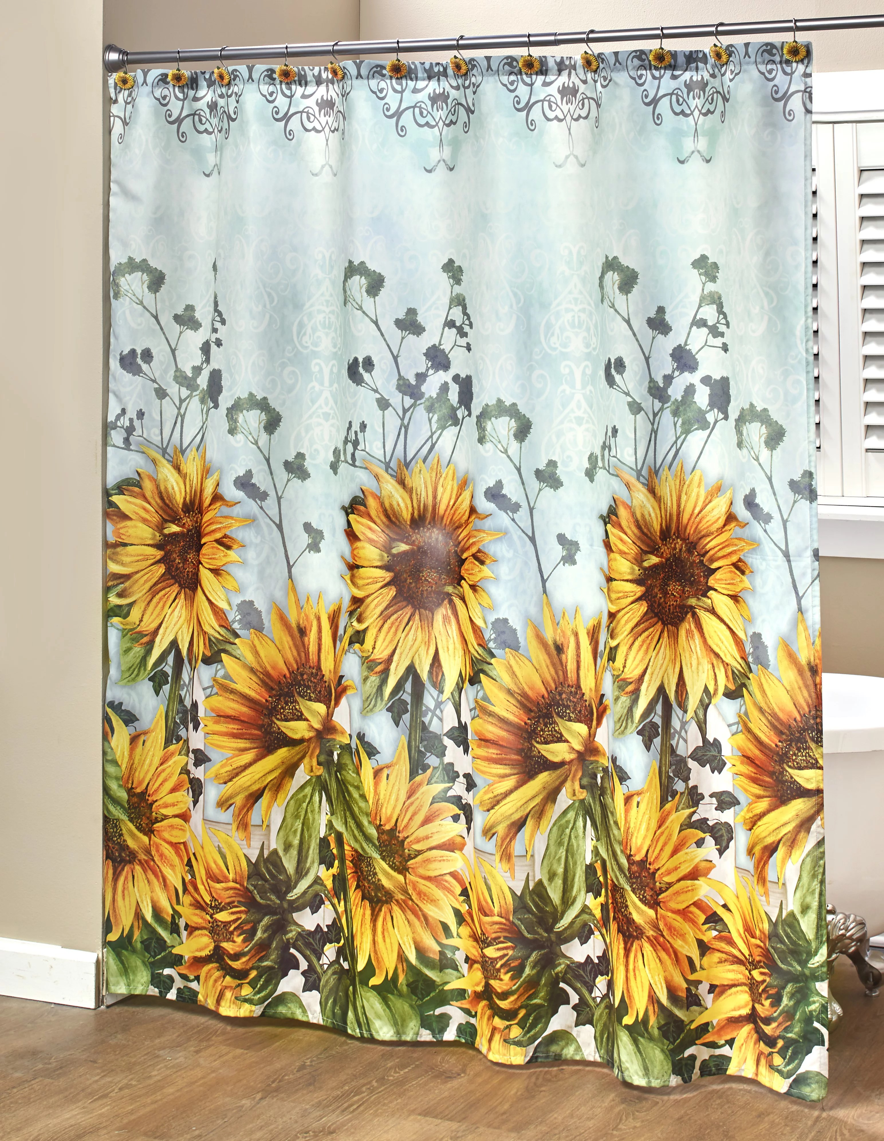 sunflower fabric shower curtain with floral farmhouse accents