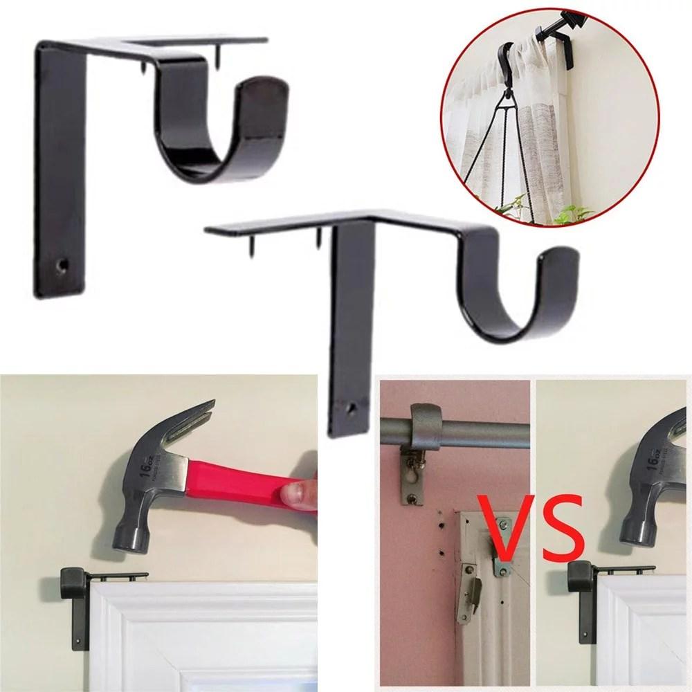 follure single hang curtain rod holders bracket into window frame curtain rod bracket