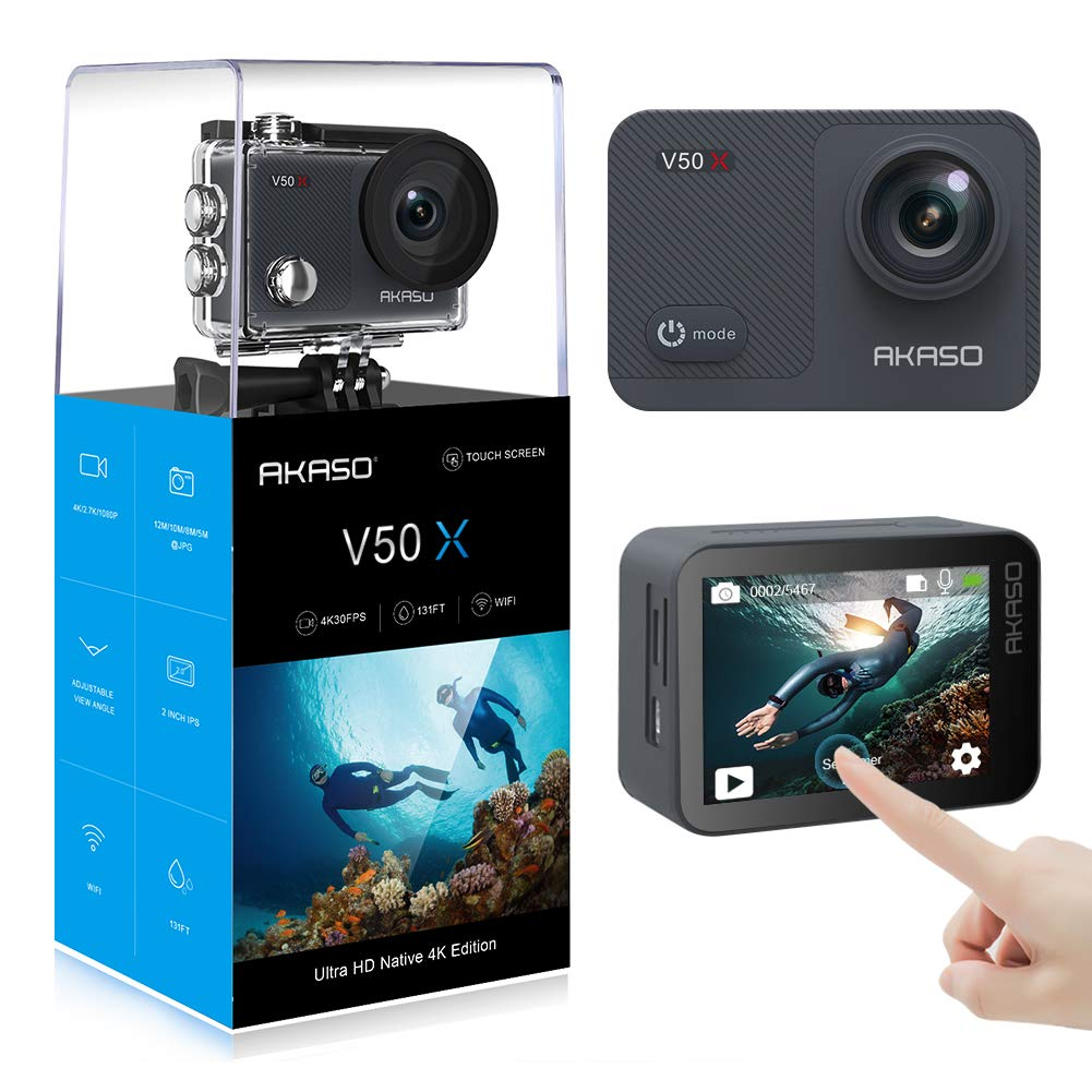 AKASO V50X Action Camera WiFi Native 4K30fps With EIS Touch Screen 4X Zoom 131 Feet Waterproof Camera Remote Control Sports Camera with Helmet Accessories Kit