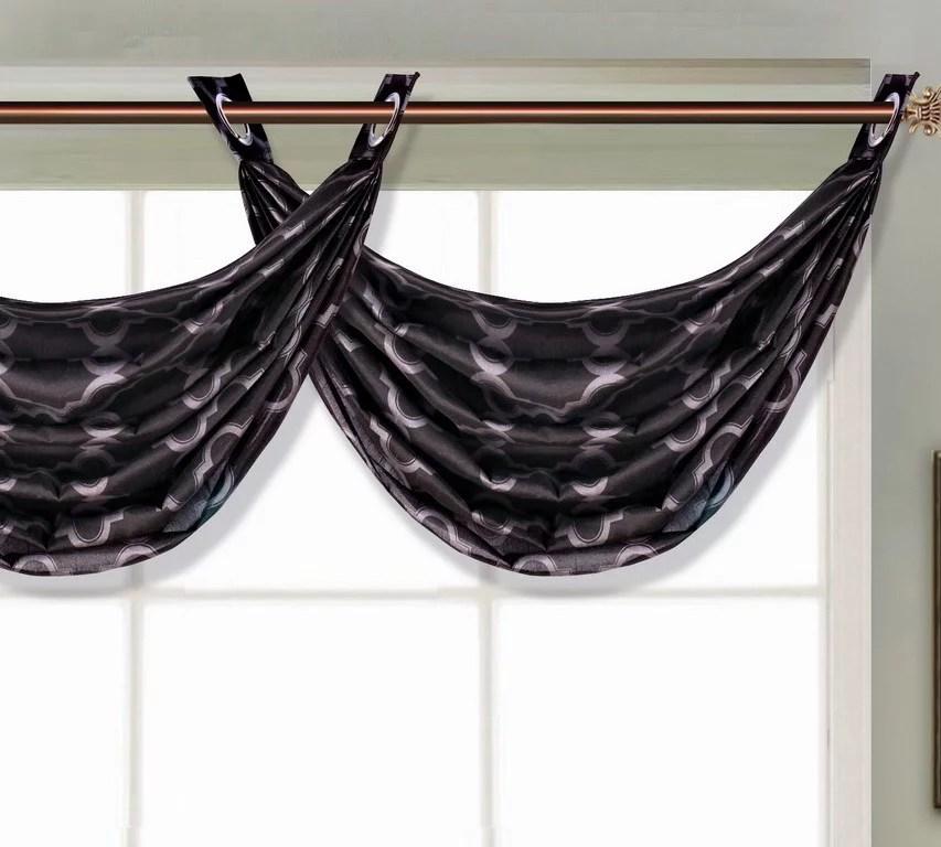sarah 1 pc valance black solid diamond window top curtain kitchen nursery bathroom size 36 wide x 24 length
