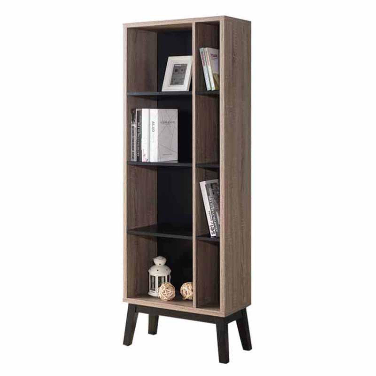 Benzara Narrow Wood Bookcase Dark Taupe Brown Black Walmart Com