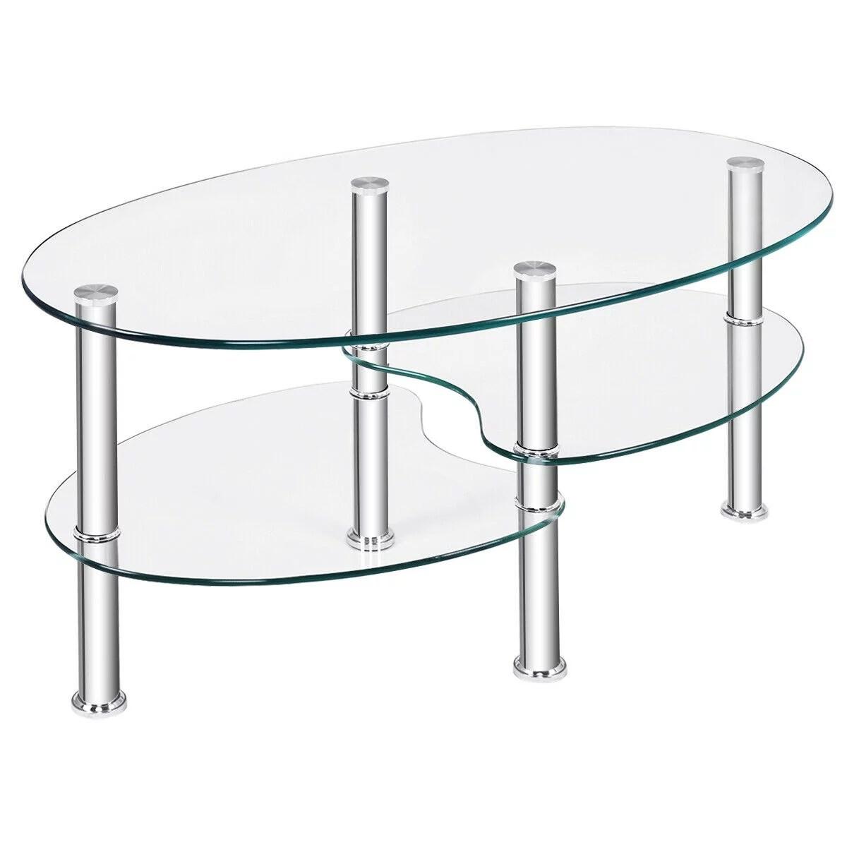 tempered glass oval side coffee table shelf chrome base living room clear