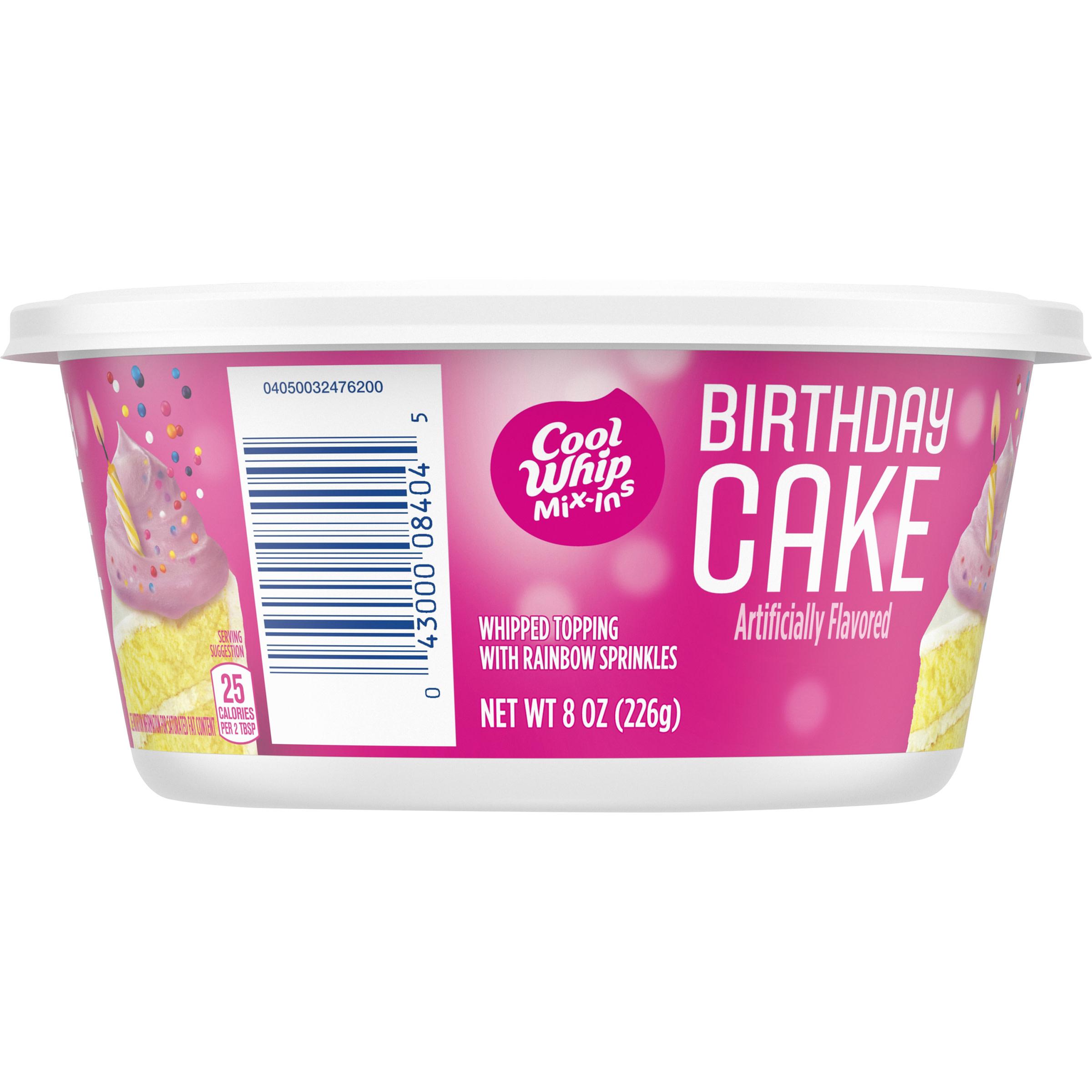 Cool Whip Birthday Cake With Rainbow Sprinkles Frozen Mix Ins 8 Oz Tub Walmart Com Walmart Com