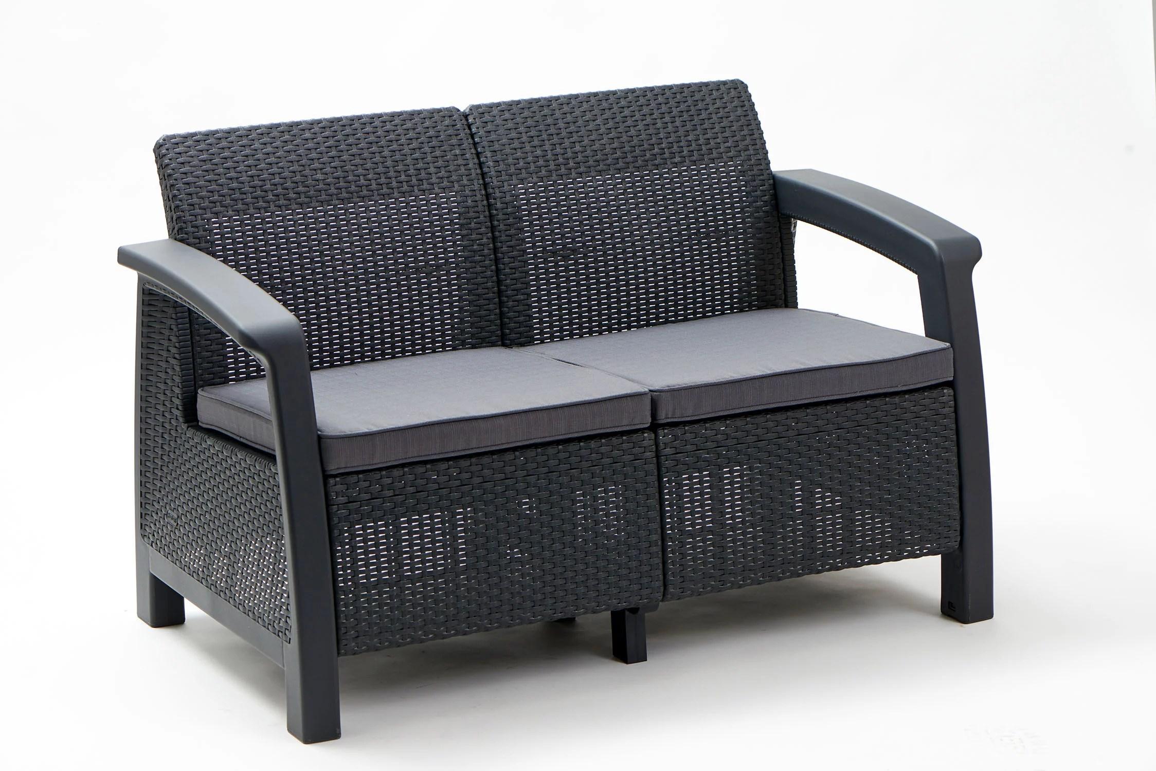 keter bahamas loveseat resin outdoor patio furniture grey walmart com walmart com