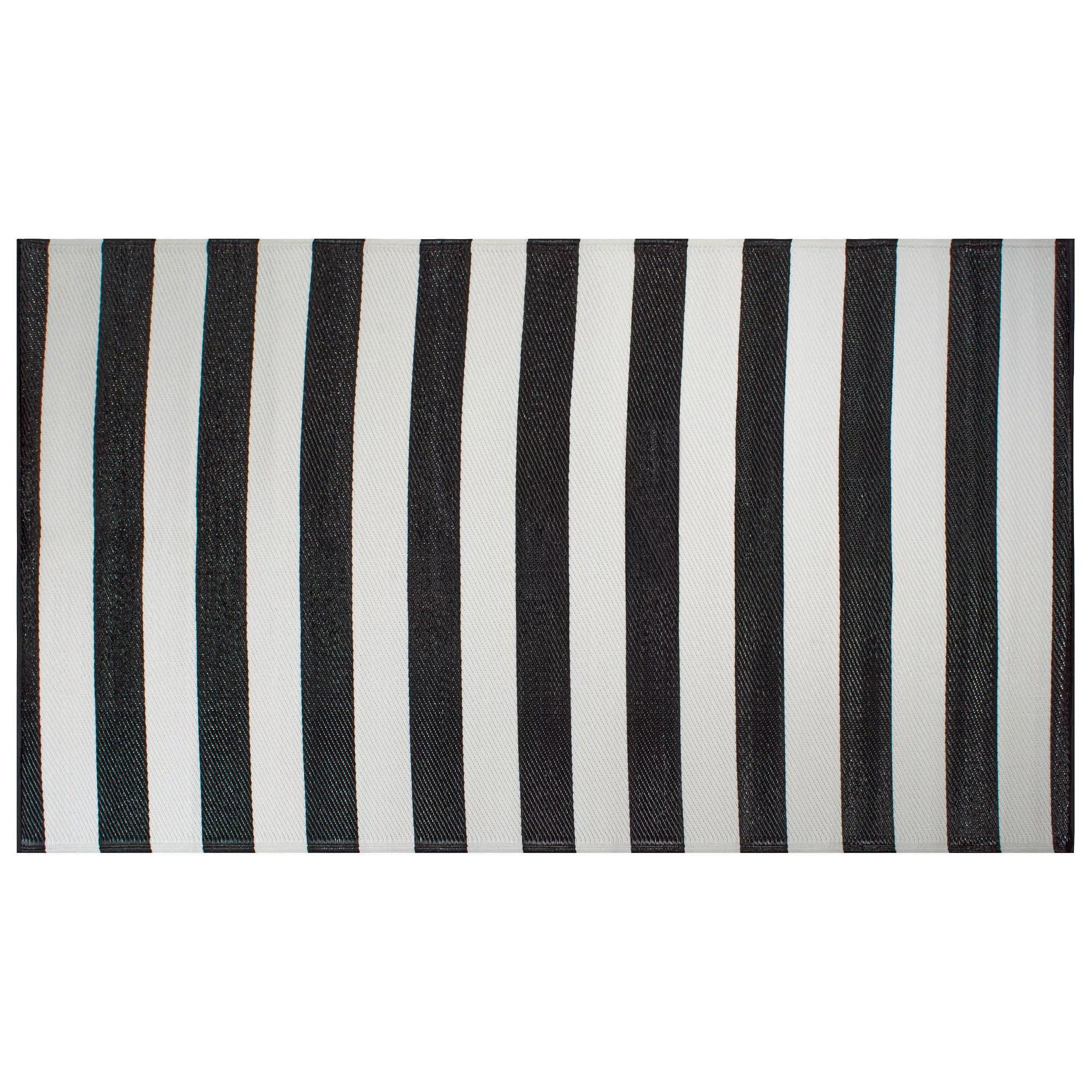 dii black white stripe outdoor rug walmart com