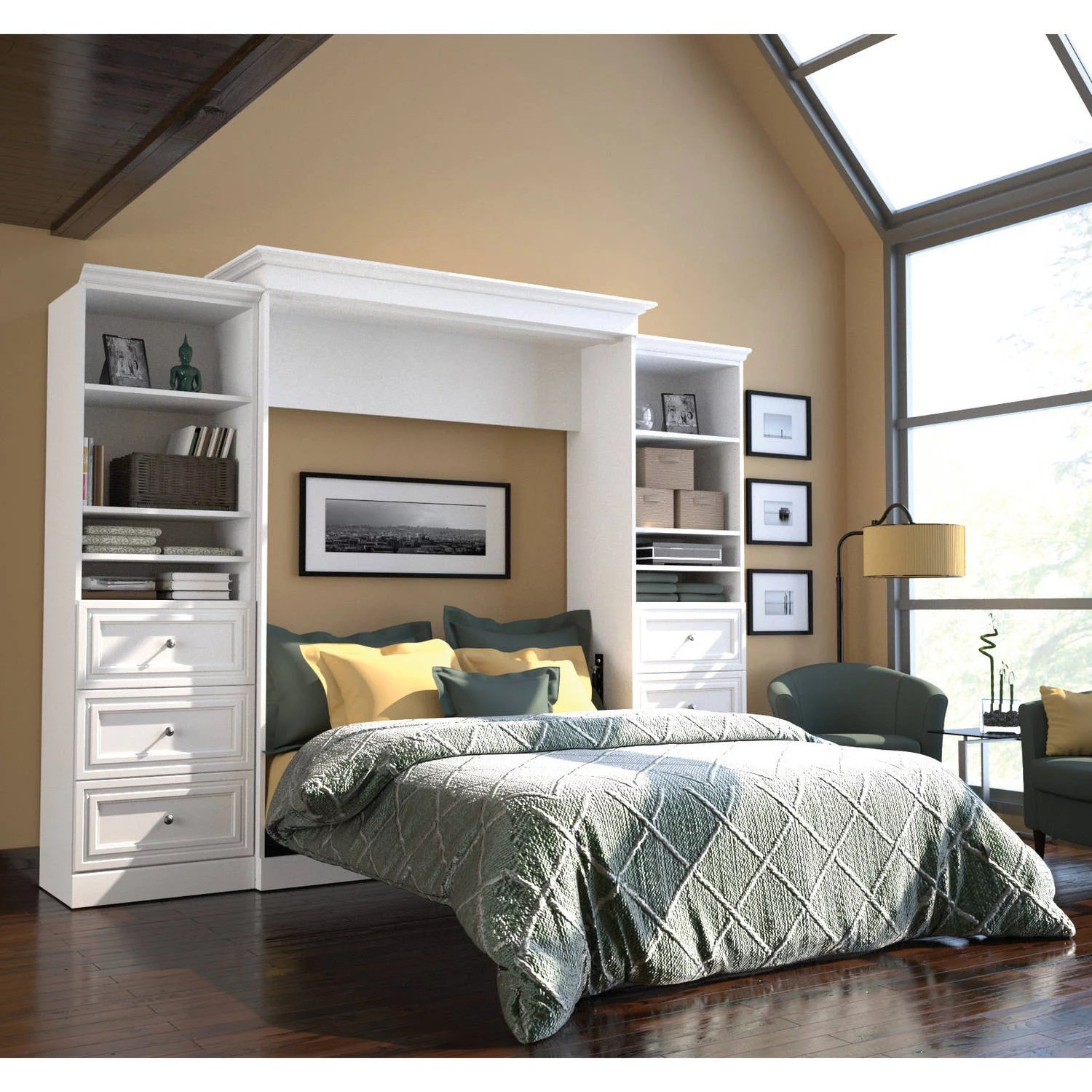 bestar versatile by bestar 115 queen wall bed kit featuring a 3 drawer set in white