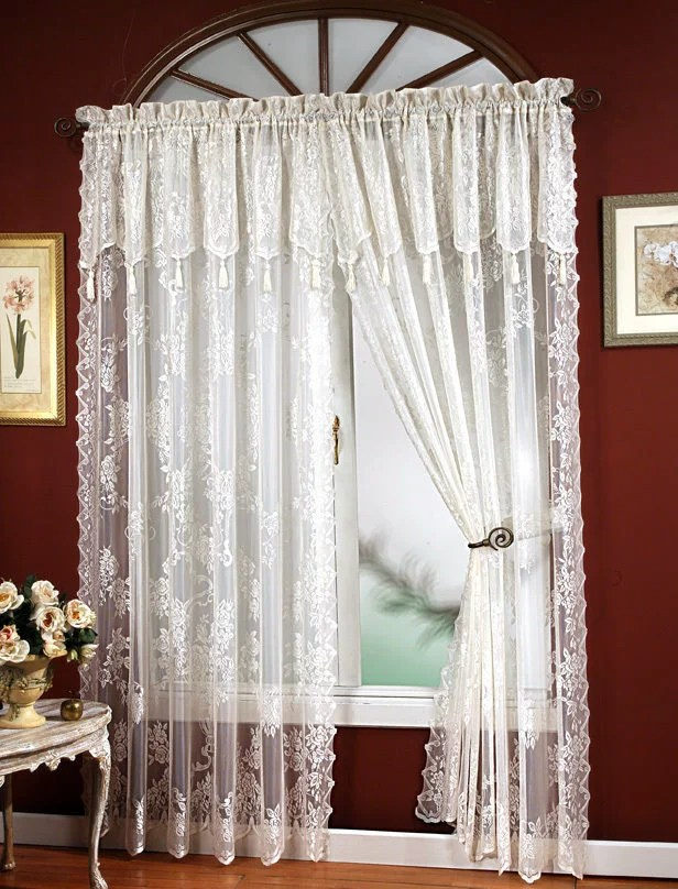 carly lace curtain panel with attached valance with tassels 63 long white