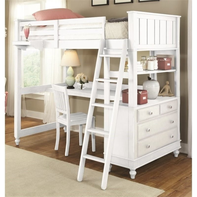 pemberly row kids twin wood loft bunk bed with desk and dresser in white walmart com