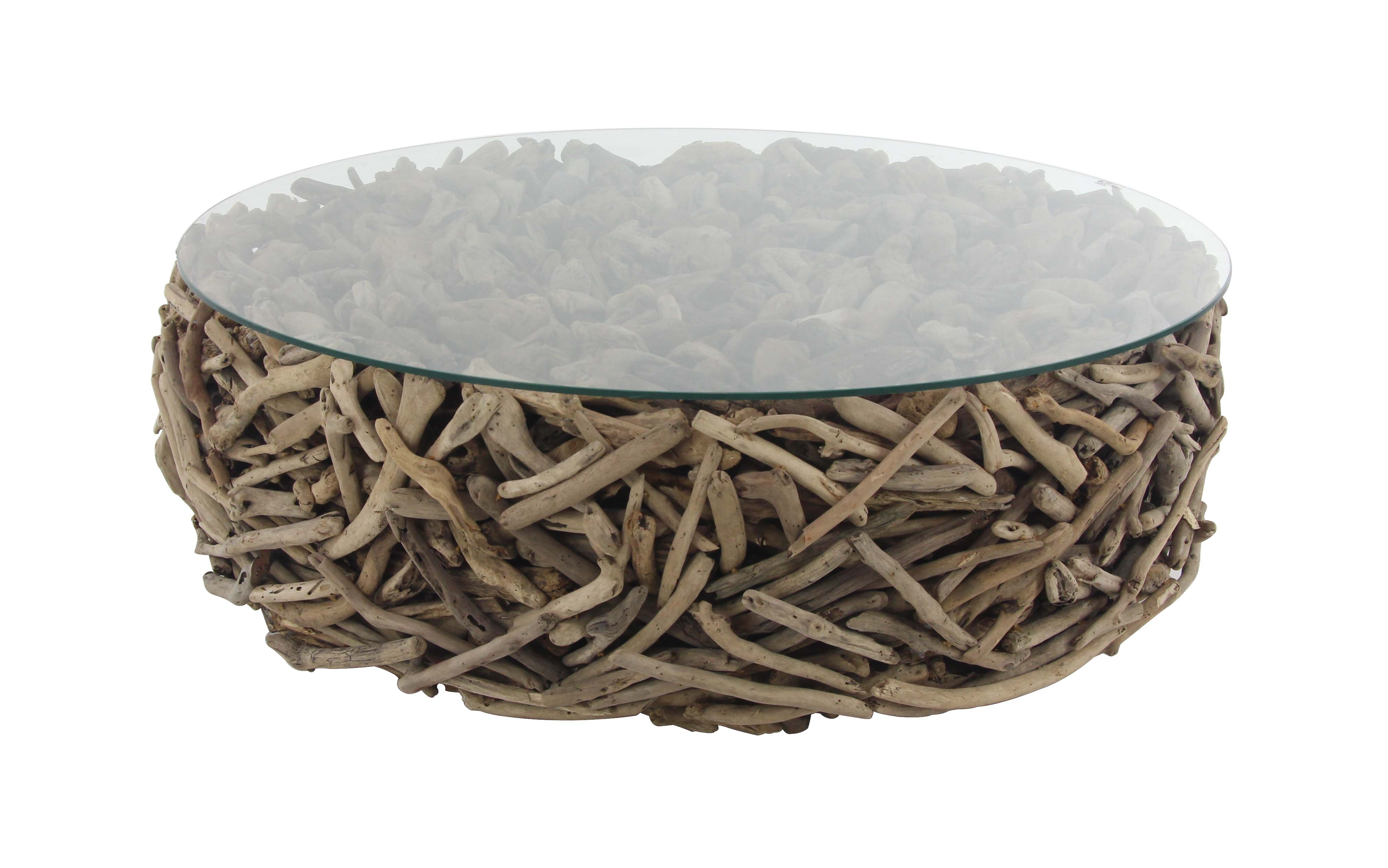 decmode natural round driftwood twigs and glass coffee table brown walmart com