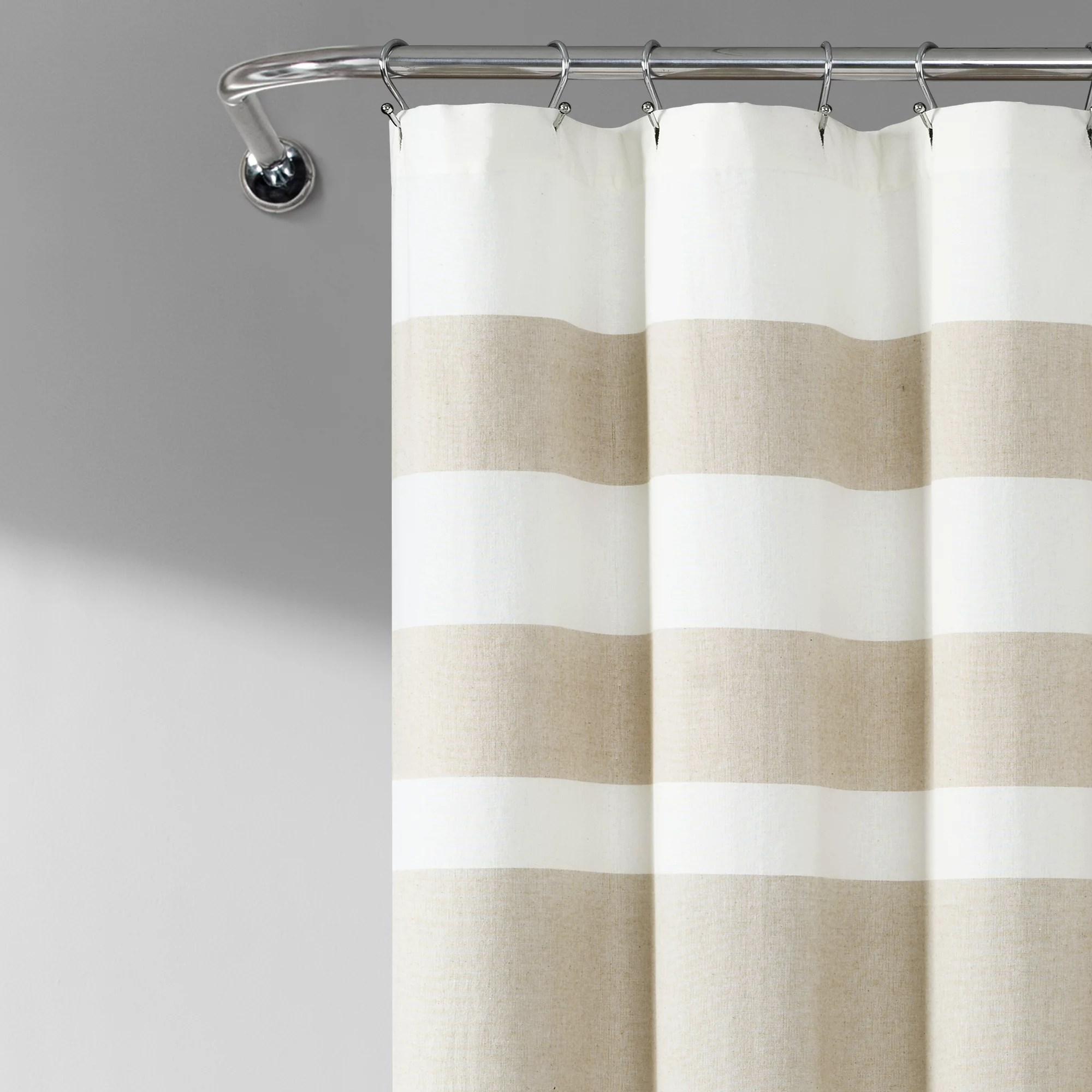 lush decor cape cod stripe yarn dyed cotton shower curtain 72x72 taupe single