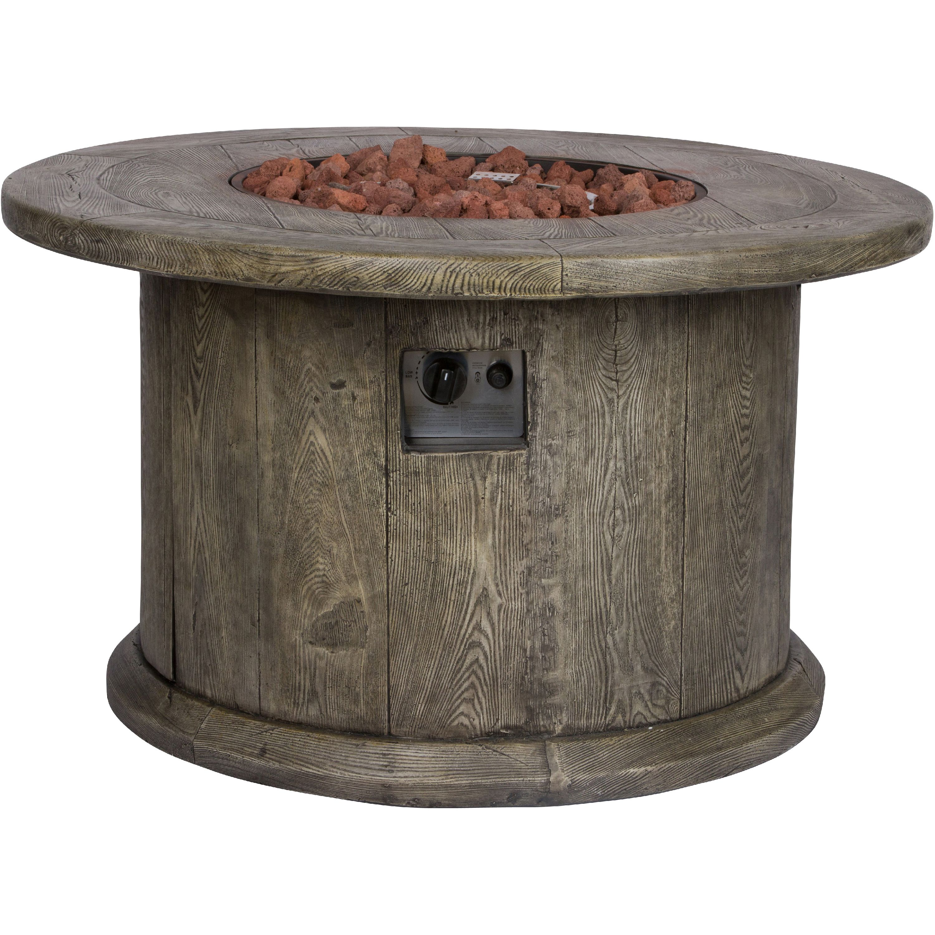 shine company merida 40 in round outdoor fire pit table grey