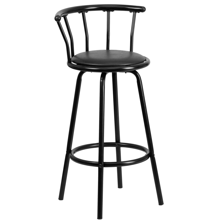 Flash Furniture Crown Back Black Metal Bar Stool With Black Vinyl Swivel Seat Walmart Com Walmart Com
