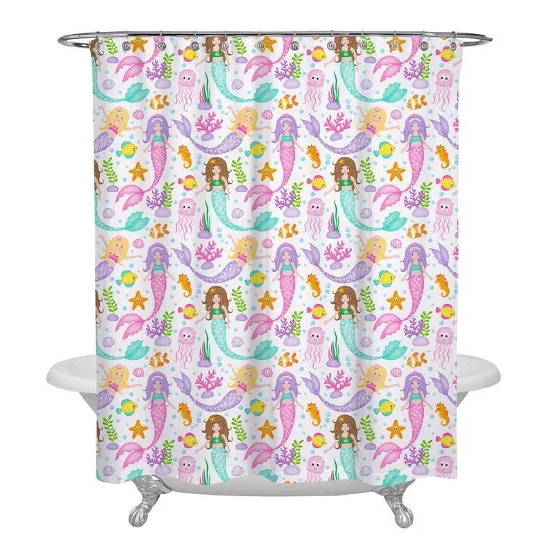 girls mermaid shower curtain for ocean beach themed bathroom 72 x 72 inch polyester fabric curtain