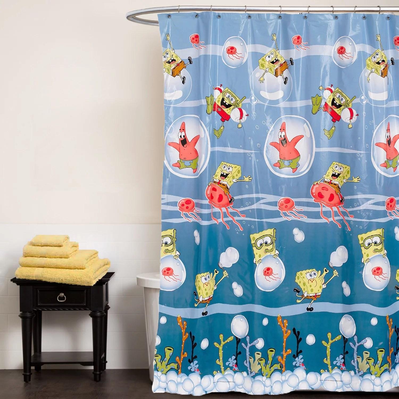 nickelodeon spongebob squarepants shower curtain underwater frenzy bathroom accessory
