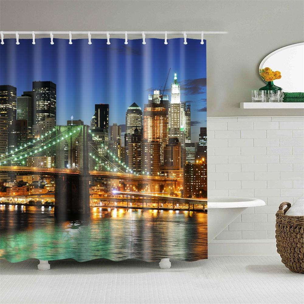 Fabric Shower Curtain City Night Cityscape Bridge ...