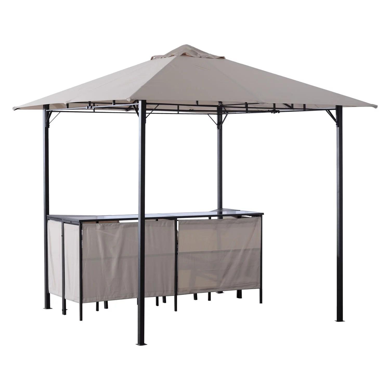 outsunny 8 x 8 3 piece outdoor furniture covered gazebo patio bar set walmart com