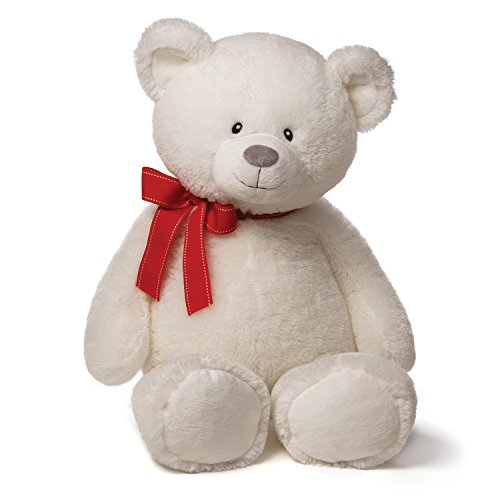 Gund Valentines Valerie Large White Bear Plush With Red