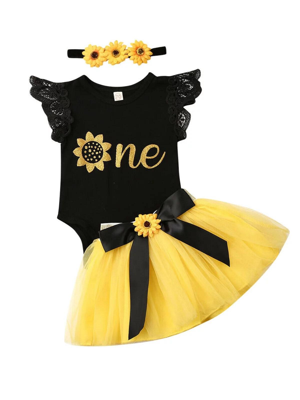 Multitrust Multitrust 3pcs Baby Girl 1st Birthday Outfit Party Flower Romper Tutu Dress Set Walmart Com Walmart Com