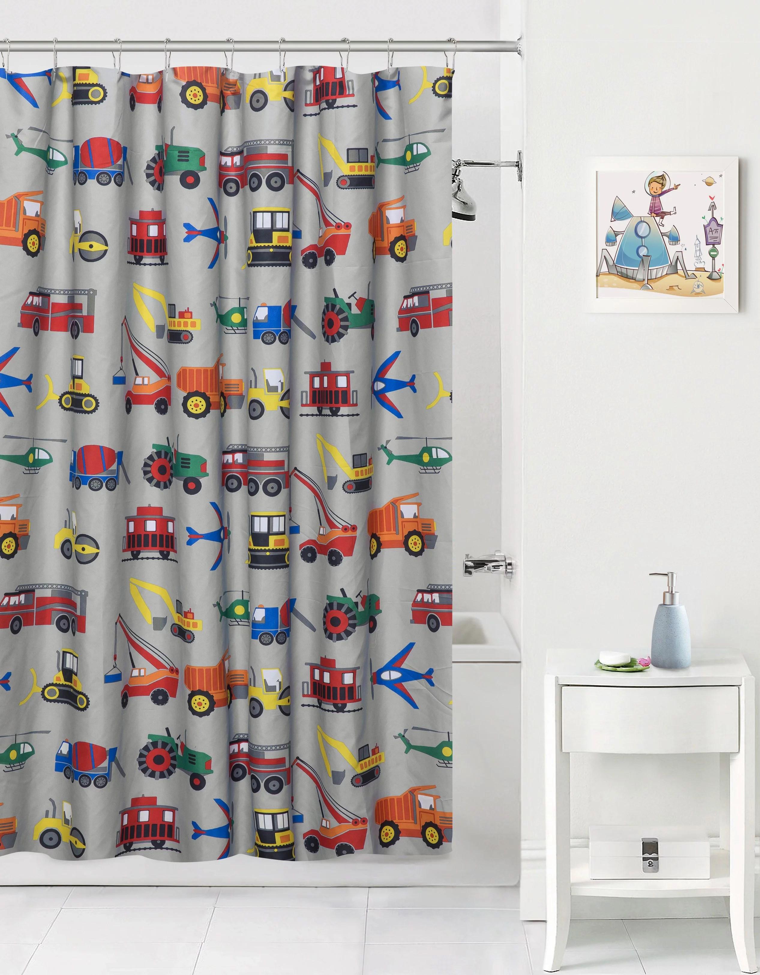 mainstays kids transportation grey fabric shower curtain
