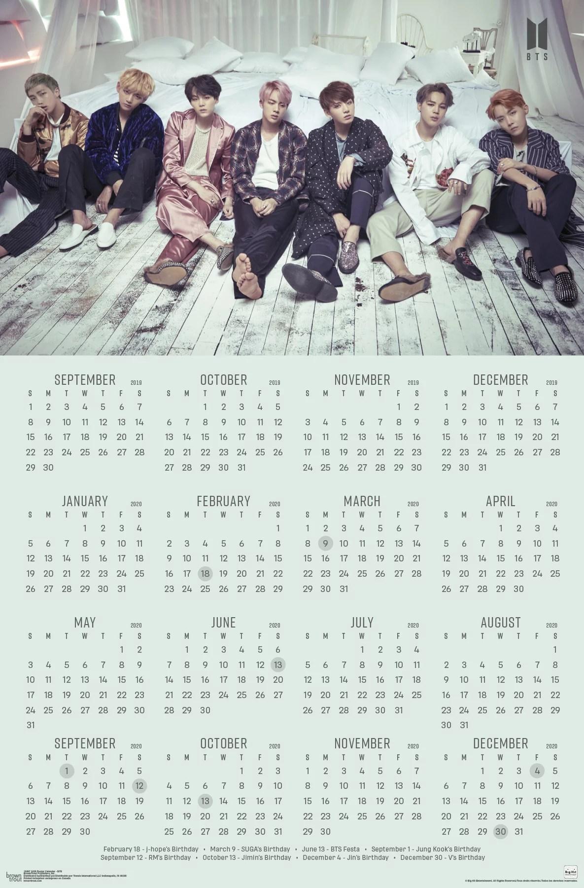 2020 poster calendar bts poster