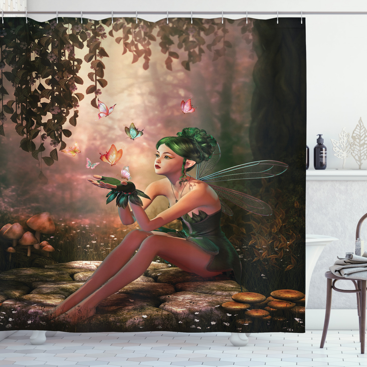 fairy shower curtain girl with wings and butterflies digital composition computer graphics elven creature fabric bathroom set with hooks