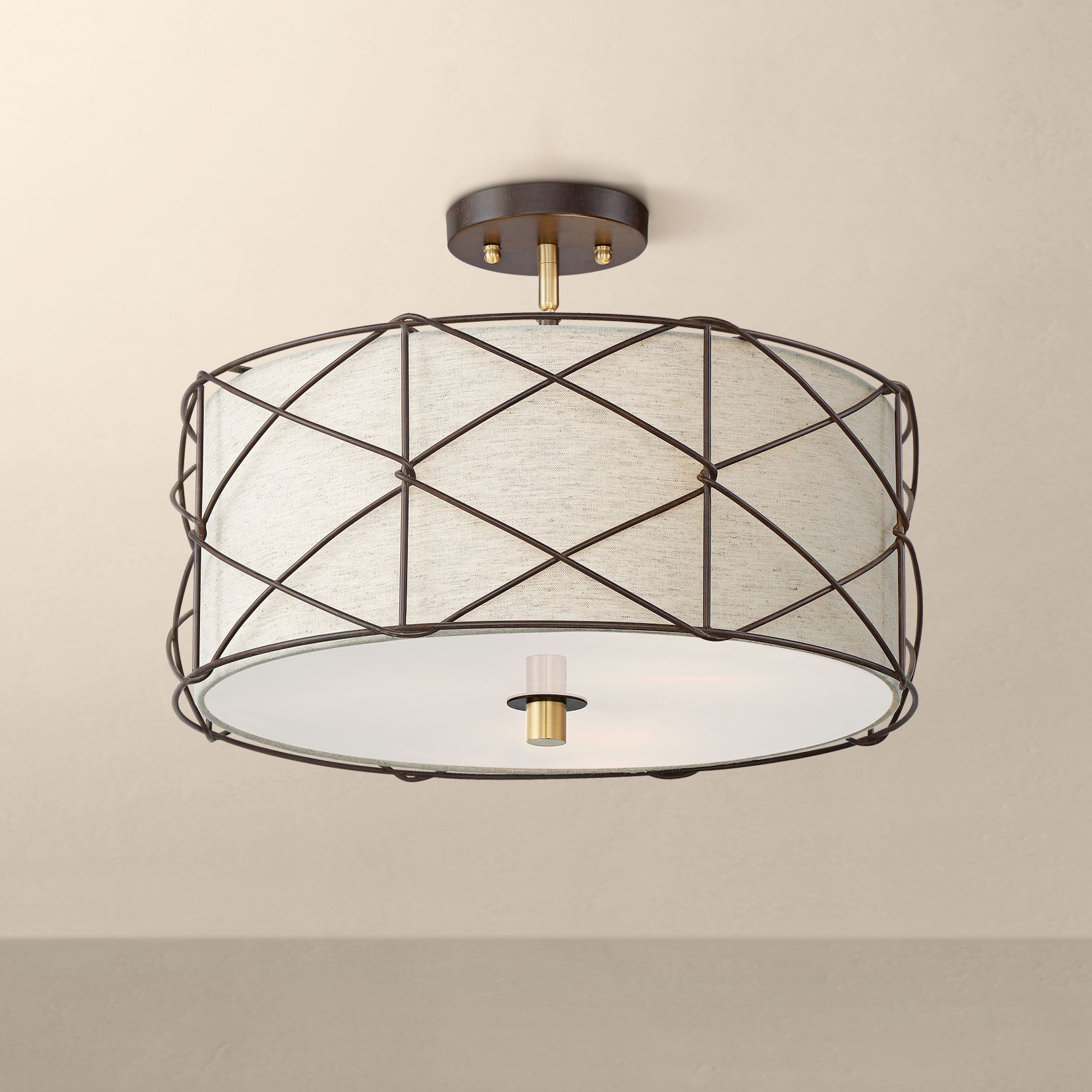 barnes and ivy farmhouse ceiling light semi flush mount fixture bronze 18 wide oatmeal linen shade acrylic diffuser for bedroom