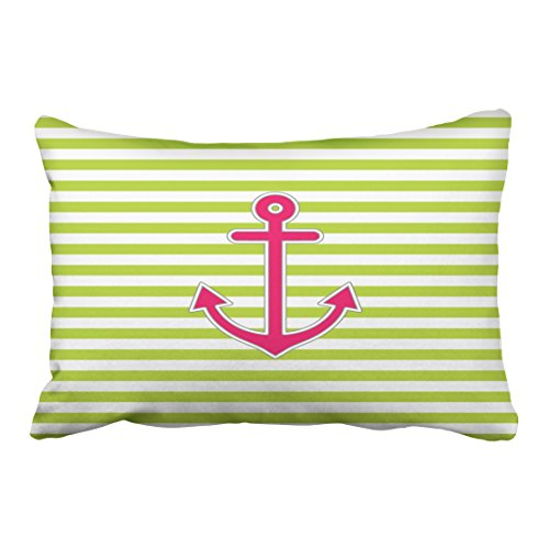 winhome rectangl throw pillow covers lime green hot pink anchor nautical pillowcases polyester 20 x 30 inch with hidden zipper home sofa cushion