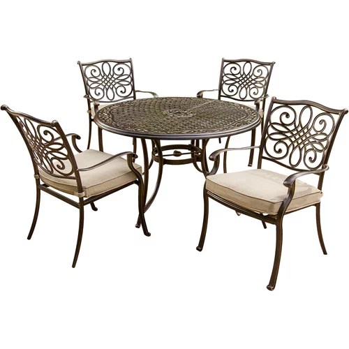 hanover traditions 5 pc dining set of 4 aluminum cast dining chairs and a 48 in round table