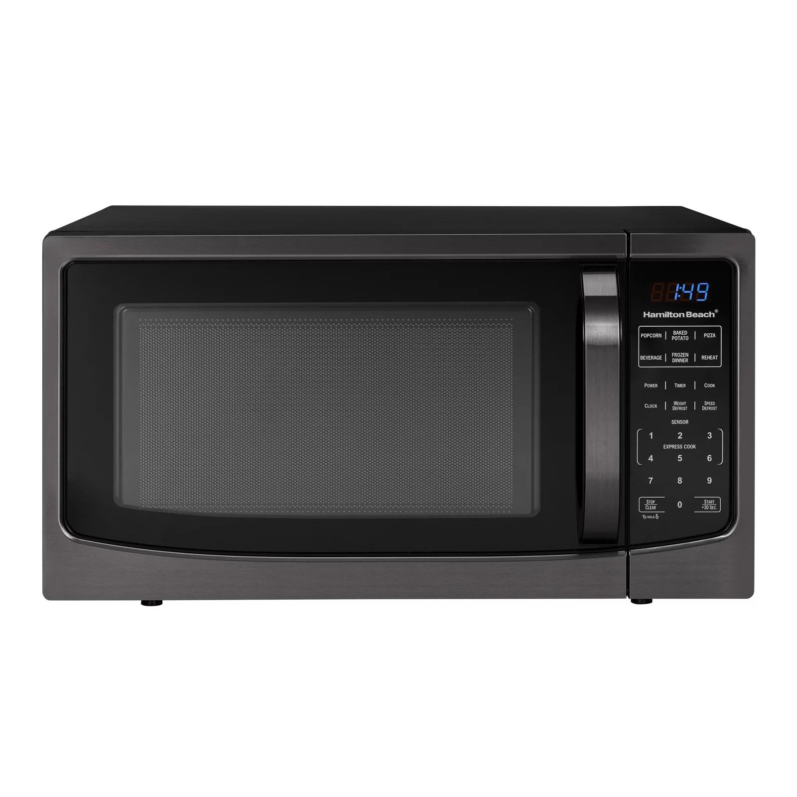 hamilton beach 1 6 cu ft black stainless steel digital microwave oven