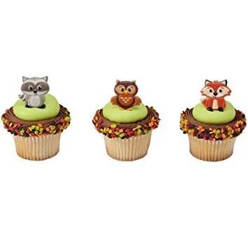 12 Woodland Animals Cupcake Cake Rings Birthday Party Favors Cake Toppers Walmart Com Walmart Com