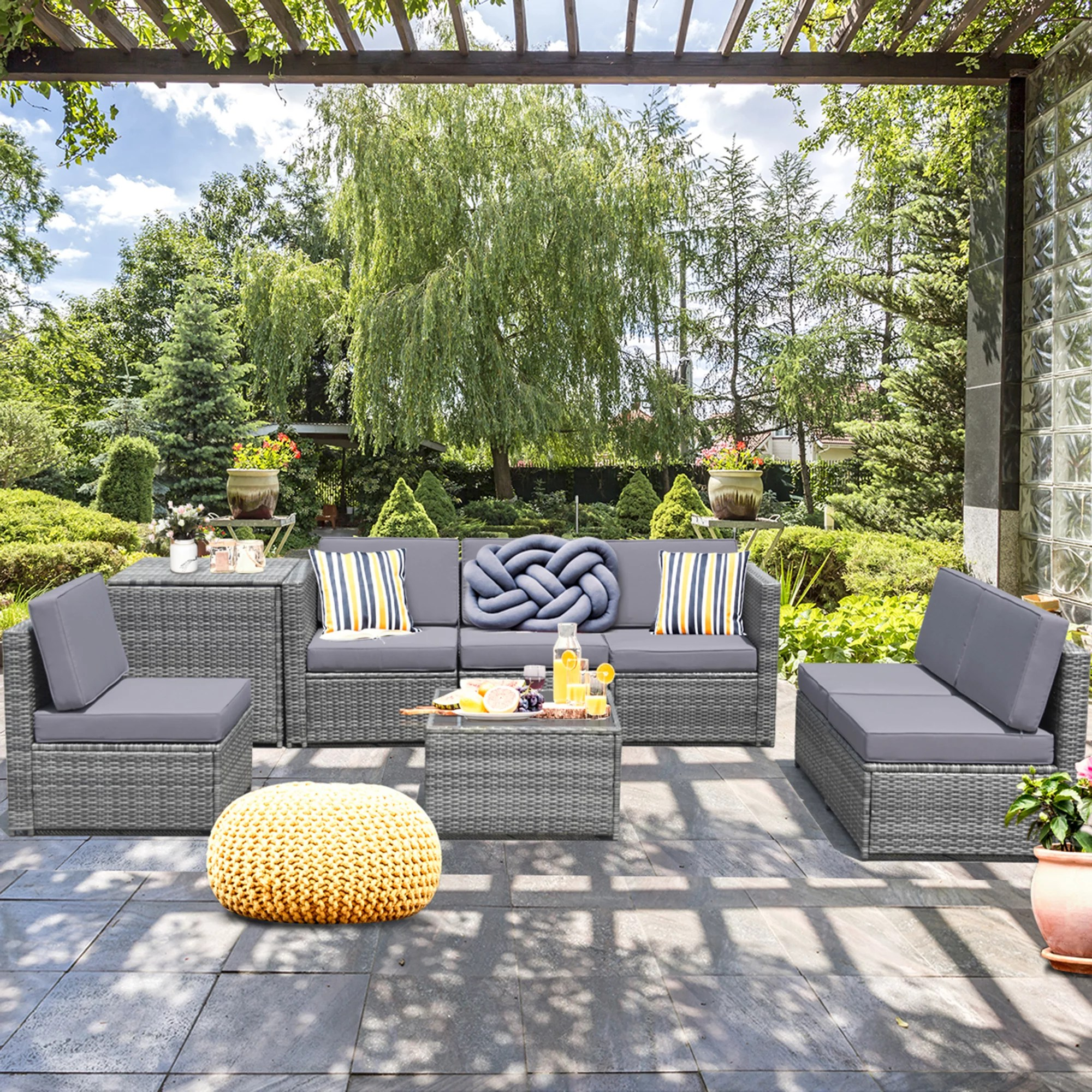 gymax set of 8 gray rattan wicker sofa table outdoor cushioned sectional patio furniture walmart com