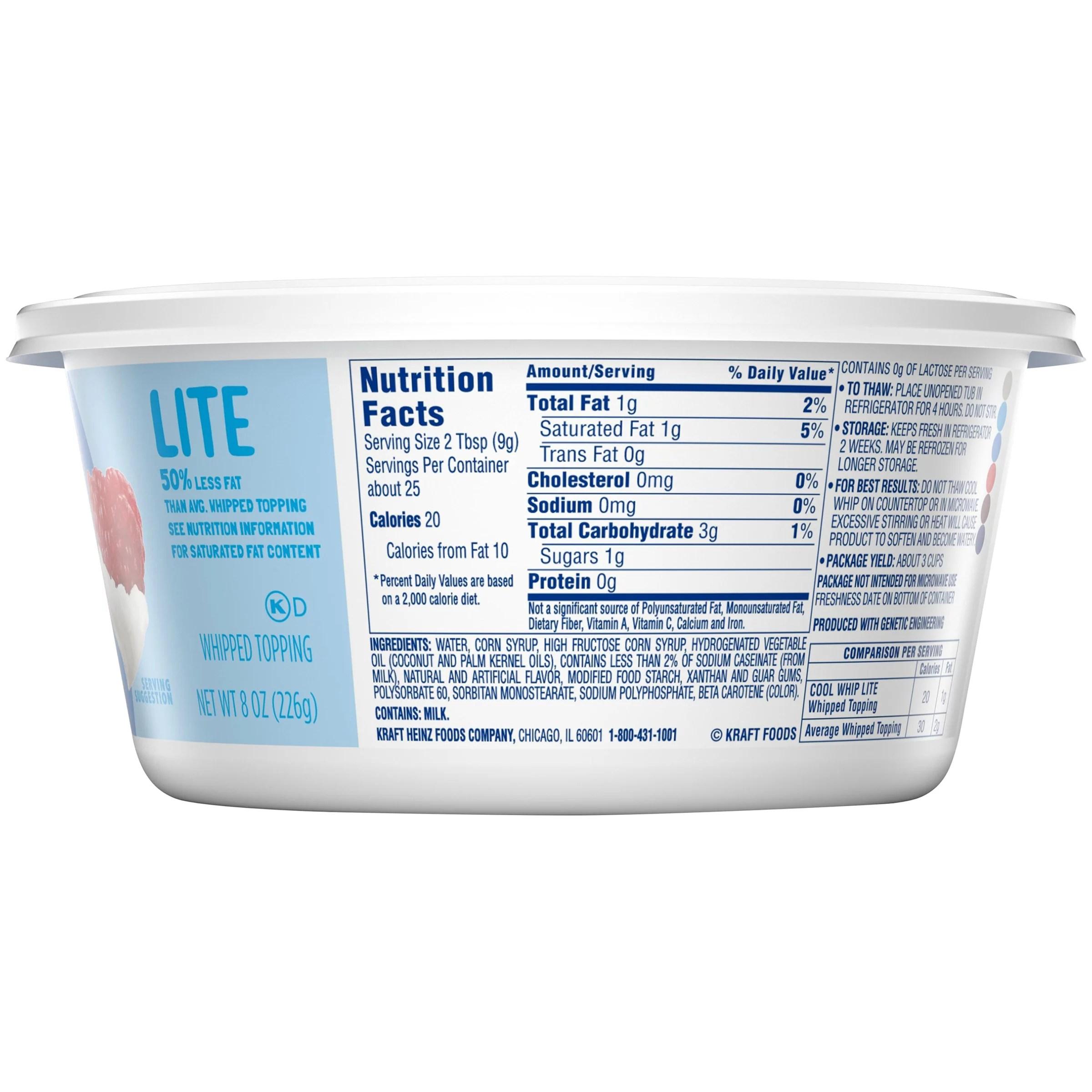 Cool Whip Nutrition Label Ythoreccio