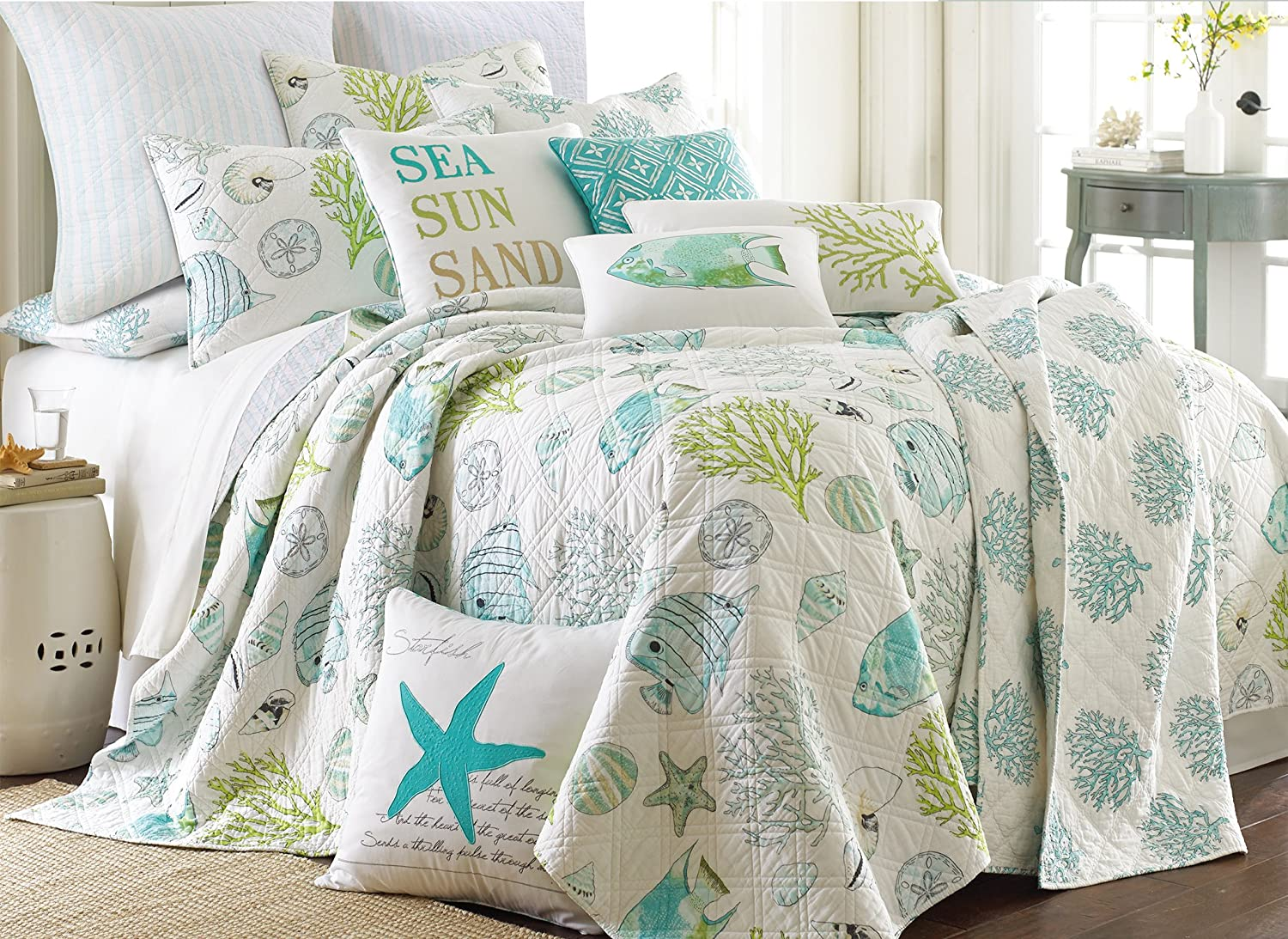 levtex home biscayne quilt set king quilt two king pillow shams tropical fish in aqua green coral quilt size 106x92in and pillow sham size