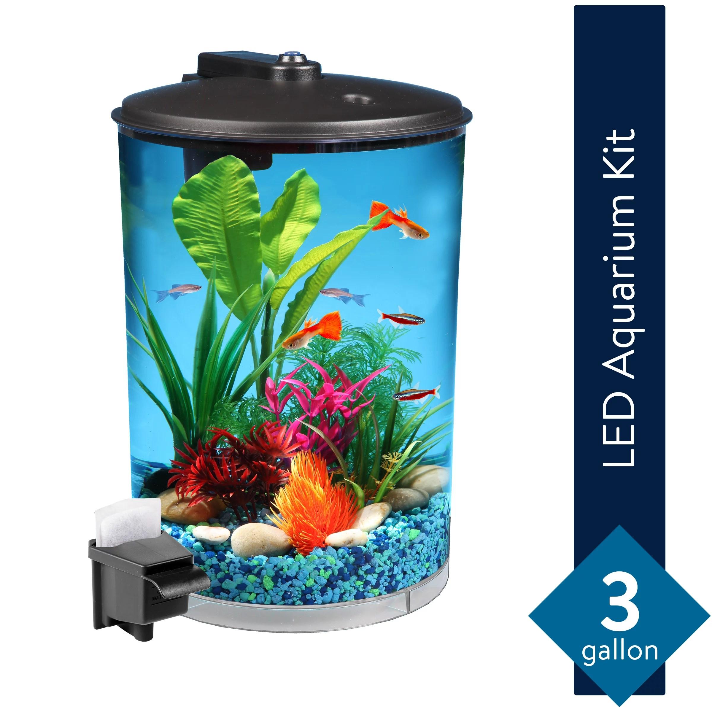 aqua culture 3 gallon 360 view aquarium kit with led lighting and power filter walmart com