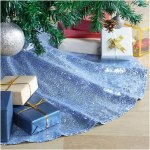 Buythrow Tree Skirt 24 Inches Baby Blue Embroidered Christmas Tree Skirt Sparkly Small Xmas Tree Ornament Christmas Decoration For Home Decor Walmart Com Walmart Com