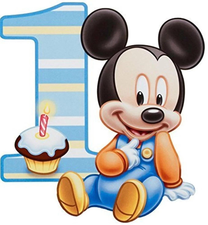 Baby Mickey Mouse 1st Birthday Cupcake Edible Cake Topper Image Abpid00096v2 Walmart Com Walmart Com