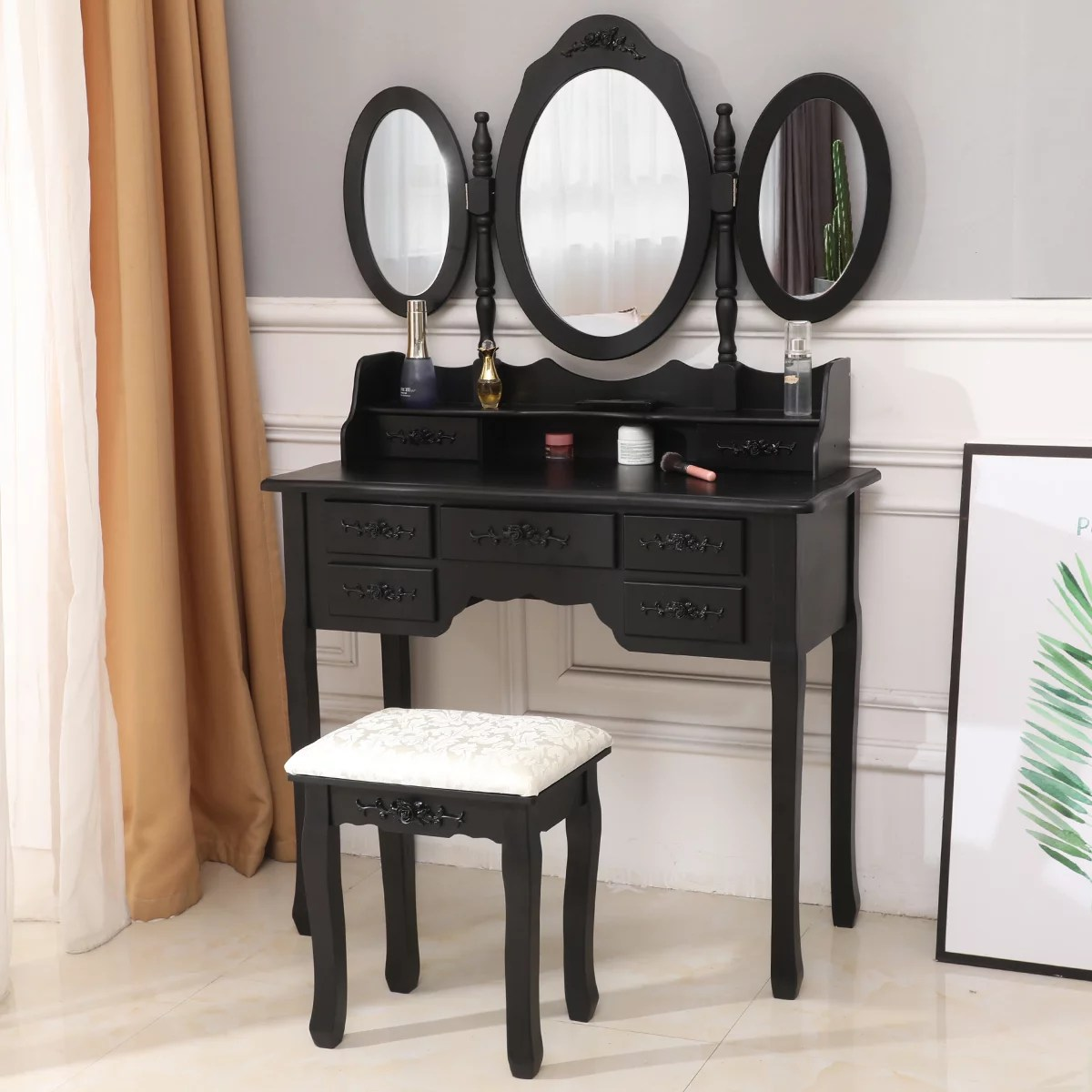 zimtown tri folding set makeup table mirror vanity dresser dressing desk 7 drawers bedroom wood black