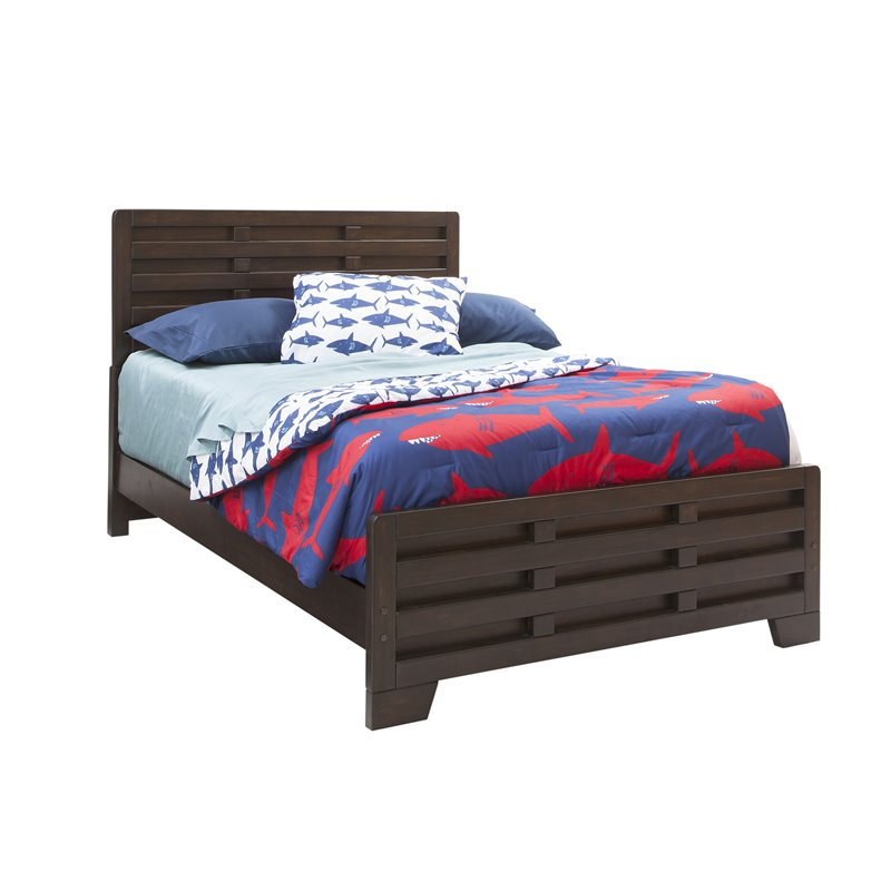 american woodcrafters billings solid wood full captain bed in dark walnut