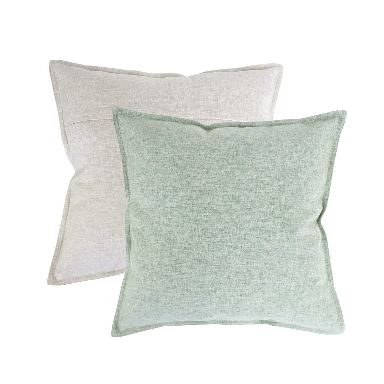 fennco styles contemporary neutral solid textured reversible two tone decorative throw pillow cases 18 x 18 inch set of 2 sage green throw pillow