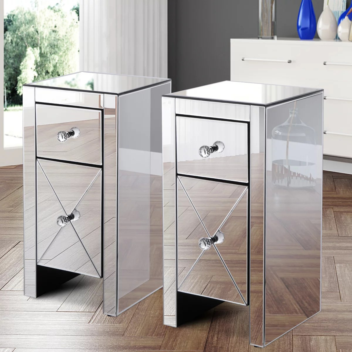 jaxpety set of 2 mirrored nightstand 2 drawer crystal accent silver side table glass bedside table furniture for bedroom living room walmart com
