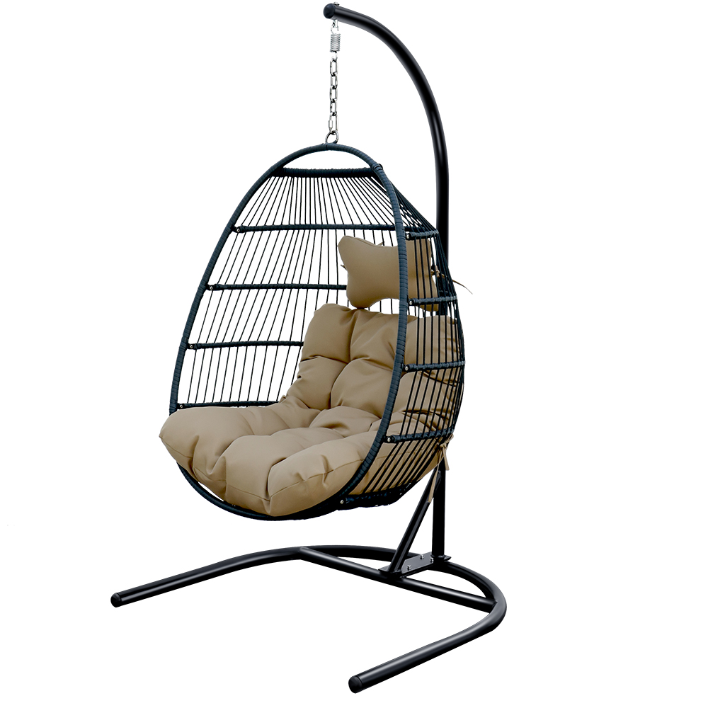 foldable swing chair with stand rattan wicker hanging egg chair hammock chair for indoor outdoor bedroom patio garden khaki