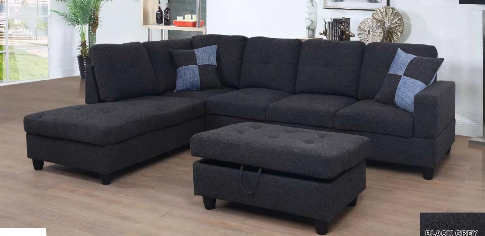 ult dark gray linen sectional sofa left facing chaise 74 5 d x 103 5 w x 35 h