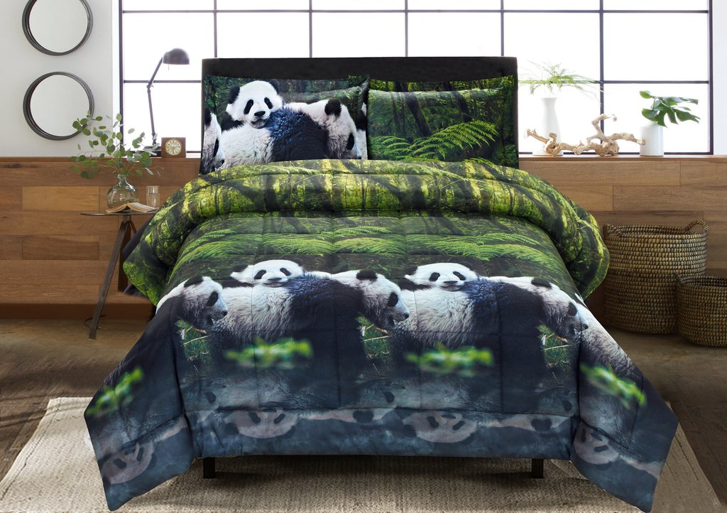 3 piece 3d comforter set 3d panda mom and kids printed comforter set king size y29 box stitched soft breathable hypoallergenic fade resistant