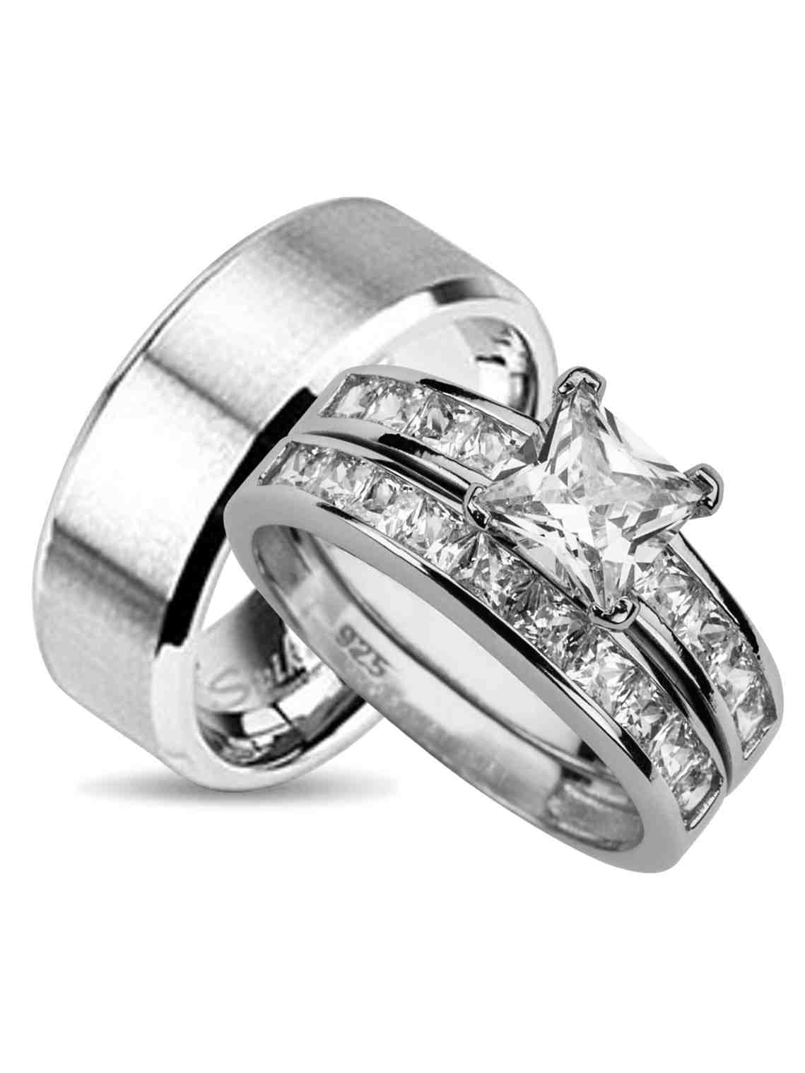 laraso co his and hers wedding ring set matching wedding bands for him and her 7 7 walmart com