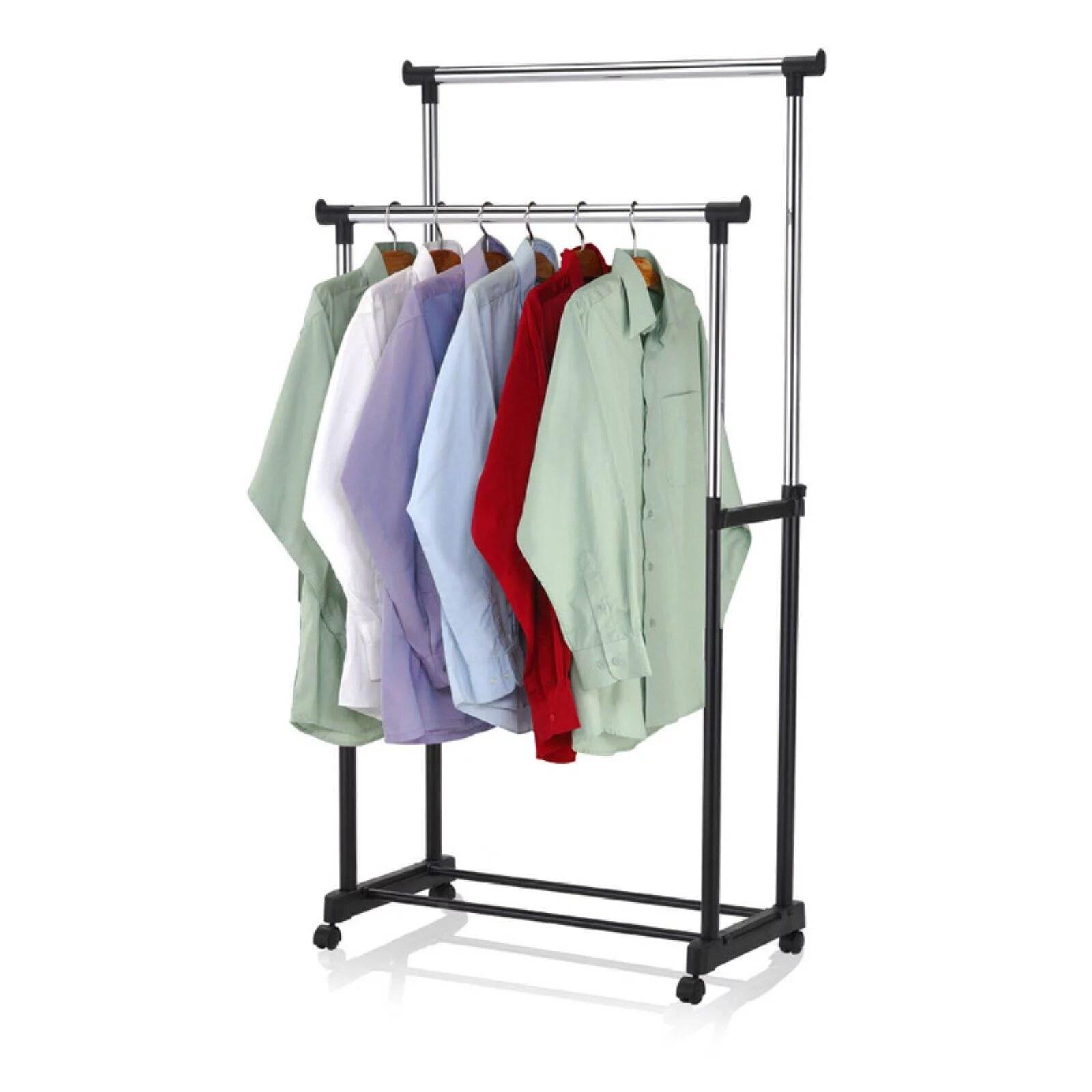 sunbeam double hanging garment rack with wheels