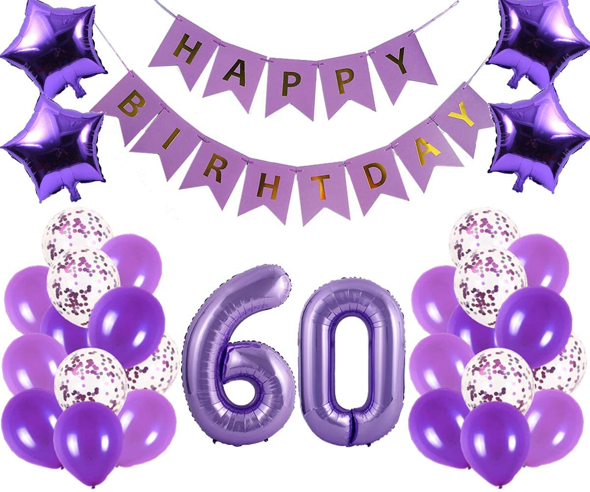 60th Birthday Party Decorations Kit Happy Birthday Banner With Number 60 Birthday Balloons For Birthday Party Supplies 60th Purple Birthday Party Pack Walmart Com Walmart Com