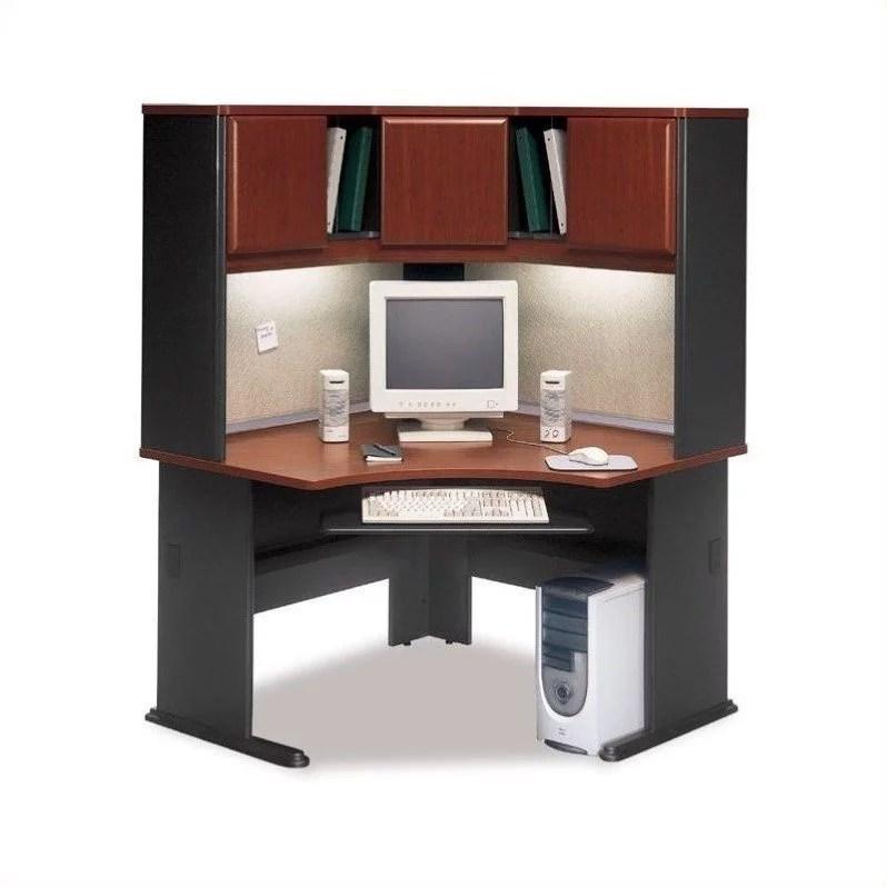 bush business furniture series a 48 corner computer hutch desk in hansen cherry