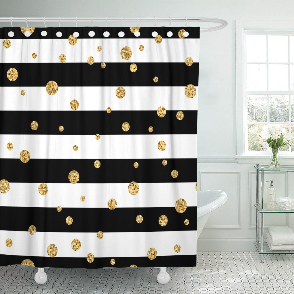 pknmt gold polka dot on lines golden confetti black shower curtain 60x72 inches