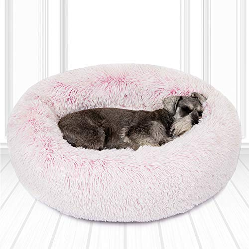 friends forever luxury pet calming bed for dogs faux fur anti anxiety pink dog bed cute fluffy round pillow cuddler donut beds for cats medium